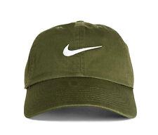 NIKE SWOOSH CAP GREEN KHAKI OLIVE STRAPBACK DUCK BEAK HERITAGE BUCKLE H86 HAT 86