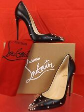 NIB LOUBOUTIN DEGRASPIKE 120 BLACK LEATHER SILVER STUDDED SPIKES PUMPS 38.5 $995