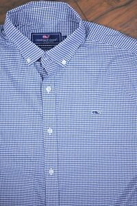 Vineyard Vines Performance Whale Button Front Shirt Blue Gingham Men's Large L
