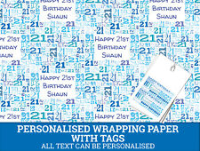 Personalised Happy 21st Birthday Wrapping paper - Male 21st Gift Wrap