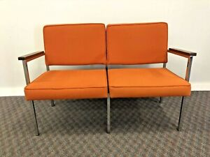 Vintage DOUBLE OFFICE CHAIR chrome waiting room mid century modern steel seat