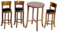 Dolls House Pecan Wood Tall Table & Bar Stools Miniature Dining Cafe Furniture
