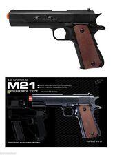 1911 Airsoft Replica Handgun 6mm BB Gun M21B Wood Grips 262fps Spring Action NEW
