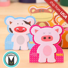 Lot 3 Kawaii Cute Standing Animal Message Memo Pad Sticky Notes Cow Monkey Pig