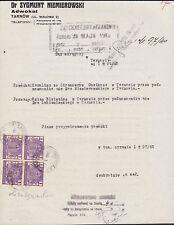 Poland Bft 3 on 1941 Court Notice, 4 Fiscals VF