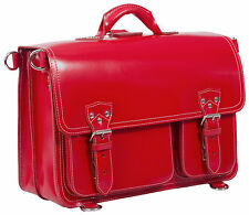BRAND NEW THICK PATENT LEATHER RED BRIEFCASE / BACKPACK / LAPTOP BAG, UNISEX
