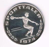 MEDAILLE  Deutsche Sporthilfe 1974  Olympia  Diskuswerfer  15g  -- 1000er Silber