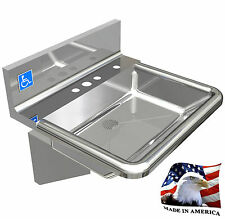 """ADA HEAVY DUTY STAINLESS STEEL HAND SINK MADE IN USA 18-3/4""""X17"""" BOWL DEEP=5"""""""