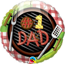 "FATHER'S DAY PARTY SUPPLIES 18"" DAD BARBEQUE QUALATEX ROUND SHAPED FOIL BALLOON"