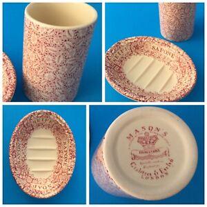 MASON'S Wedgwood CRABTREE & EVELYN Soap Dish + Tumbler Cranberry Red ENGLAND