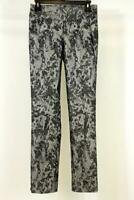 womens silver floral print LISETTE MONTREAL 7105 pull on MODERN dress pants XS 2