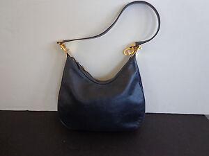 Vintage Gucci Navy Blue Leather Handbag INV 2028