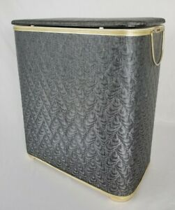 Mid-Century Red-Man Laundry Hamper With Hinged Lid Gray Retro Vintage 21x12x24