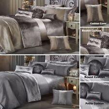 GRAN RENO CRUSHED VELVET Luxury Duvet Quilt Cover Bedding Set SILVER GREY MINK