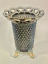 """Vintage Eapg Imperial Glass Laced Edge Diamond Smoke 4 Footed 5"""" Flower Vase"""