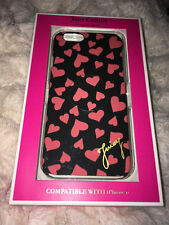 Juicy Couture iPhone 6 / 7 / 8 Phone Case Black With Pink Hearts NIB Authentic