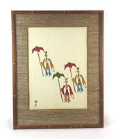 Vintage Mid Century Japanese Mid Century Mikumo Woodblock Print Umbrellas