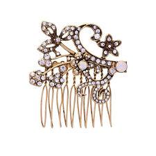 Epingle à Cheveux Pin Doré Art Deco Feuille Floral Dentelle Opale Fin Retro FJ1