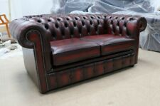 NEW CHESTERFIELD TUFTED BUTTONED 2 SEATER SOFA REAL VINTAGE OXBLOOD RED LEATHER