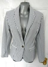 H&M Size 8 (EU 36) White Navy Blue Stripe Blazer Jacket Smart Nautical Pockets