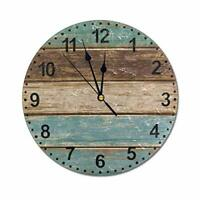 Big Vintage Wood Wall Clock Silent Non Ticking for Bedroom Living Room Kitchen