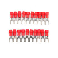 20PCS Red Insulated Fork Spade Wire Connector Electrical Crimp Terminal M4 NT