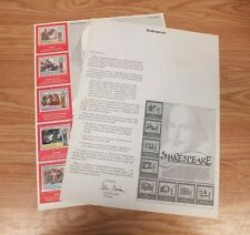 Authentic Shakespeare World Of Stamps Collectible Series Sheet W/ COA **READ**