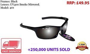 RayZor Sports Wrap Sunglasses Uv400 Black Vented Smoke Mirrored Lens RRP£49 (401