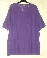 Damen Pullover Kurzarm MARGARETA F. Gr. 44/46 lila V-Ausschnitt Durchbruchmuster