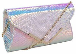 Kukubird Holographic Faux Snakeskin Envelope Clutch Bag With Kukubird Dust Bag