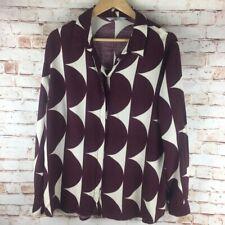 Jasper Conran Blouse Shirt Burgundy White Pattern Size UK18