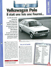 Volkswagen Polo 1975  GERMANY DEUTSCHLAND ALLEMAGNE  Car Auto FICHE FRANCE