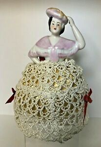 PORCELAIN HALF DOLL VICTORIAN PIN CUSHION WITH CROCHETED SKIRT