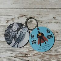 Personalised Wooden Keyring My Daddy My Hero Dad Grandad Gifts Fathers day