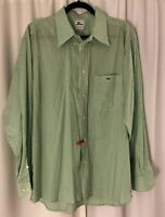 Men's Lacoste Green Gingham Check Button Front Shirt Long Sleeve Size 45 US XL