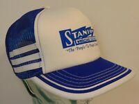 Vintage 1980s Stanion Electric Company SNAPBACK TRUCKER HAT CAP 3 SIDE STRIPES