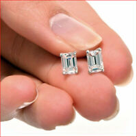 1 Ct Emerald Cut Solitaire Stud Earrings in 14k White Gold Finish Screw Back