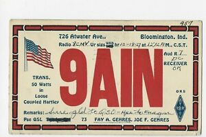BLOOMINGTON  IND.  QSL CARD POSTED 1928
