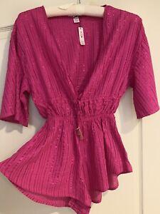 Victoria's Secret Cover Up Romper M Hot Pink Metallic Beach Bathing Suit Top $69