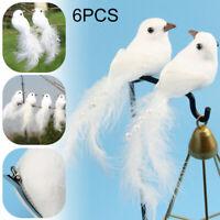 6 Stück Dekovögel mit Federn, künstliche Vögel mit Federn Hochzeit Xmas Dekor