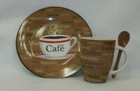 Trisa Cafe' Cappuccino Latte Coffee Cup w Spoon & Matching Plate