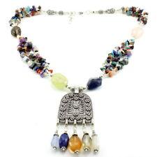 Necklace natural prehnite iolite lapis citrine multi gemstone beaded antique 90g