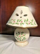 Lenox Christmas Holiday Porcelain Candle Lamps Tea Light Holly Berry