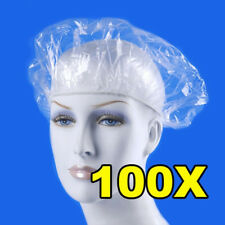 100pcs Practical Disposable Hat Hotel One-Off Elastic Shower Bathing Cap Clear