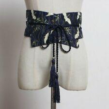 Lady Japanese Belt Kimono Obi Yukata Strap Wide Waistband Fringe Crane Retro New