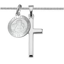 Kreuz Kette mit Schutz Engel Gravur Anhänger Zur ersten hl. Kommunion Silber 925