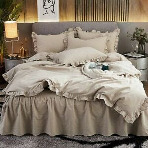 Brief Style 100% Cotton Four Pieces Bedding Set Solid Bed Skirt Duvet Cover