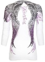 Rebel Saints AFFLICTION Women LS T-Shirt ANGEL Wings Tattoo Biker UFC Sinful $58