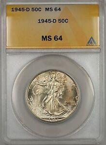 1945-D Walking Liberty Silver Half Dollar 50c ANACS AU 64