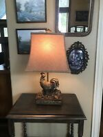 Bronze Gold Rooster Table Lamp Fabric Shade Fancy Designer Piece Home Decor